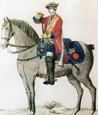Униформа рядового полка Королевских драгун Ирландии образца 1742 года.