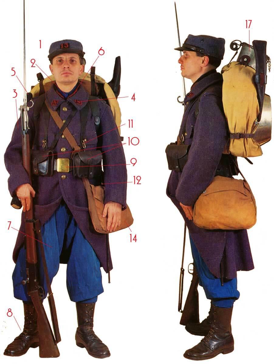 униформа французского пехотинца времен Первой мировой войны