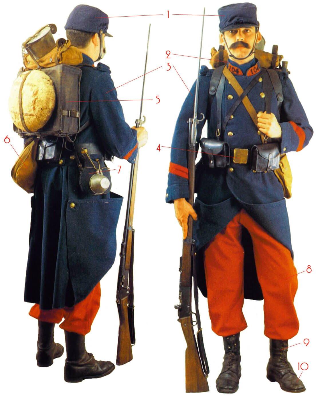 Униформа французского пехотинца, осень 1914 года.
