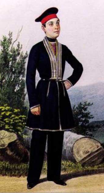 Повседневная форма воспитанников из мусульман, 1835 – 1855 годы.