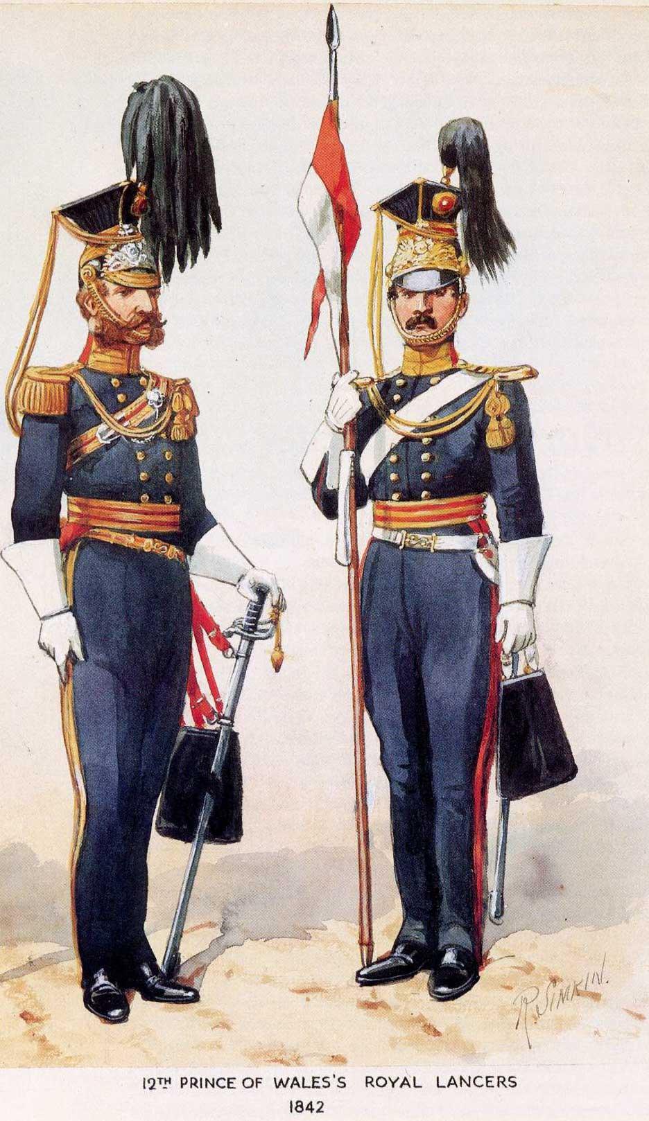 Офицер (слева) и рядовой 12 уланского полка в полной униформе, 1842 год.