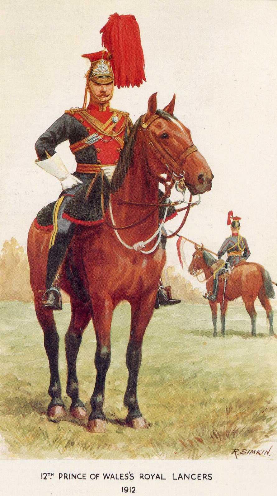 Офицер (на переднем плане) и рядовой 12 уланского полка, 1912 год.