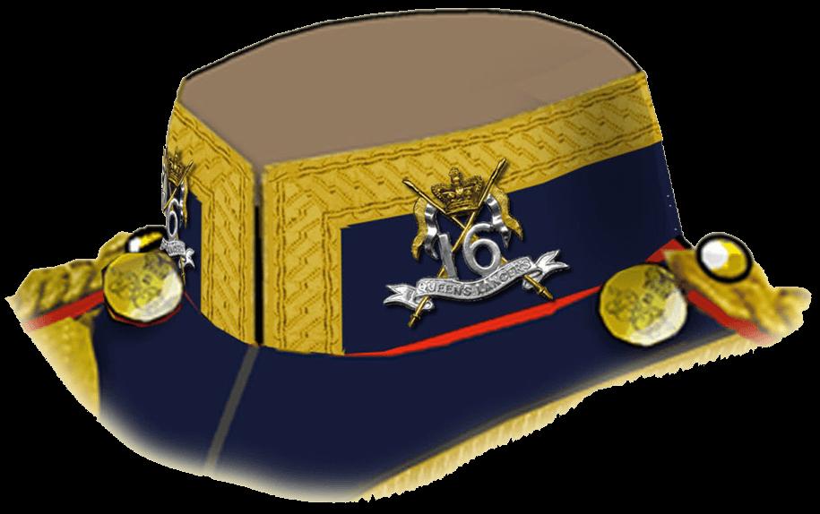 Полковая эмблема Серебряная цифра «16» и внизу ее надпись «Queen's Lancers» на ленте расположены на паре скрещенных золотых копьев. Над копьями – золотая корона.