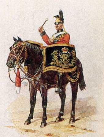 Барабанщик 16 уланского полка в полной униформе, 1900 год.