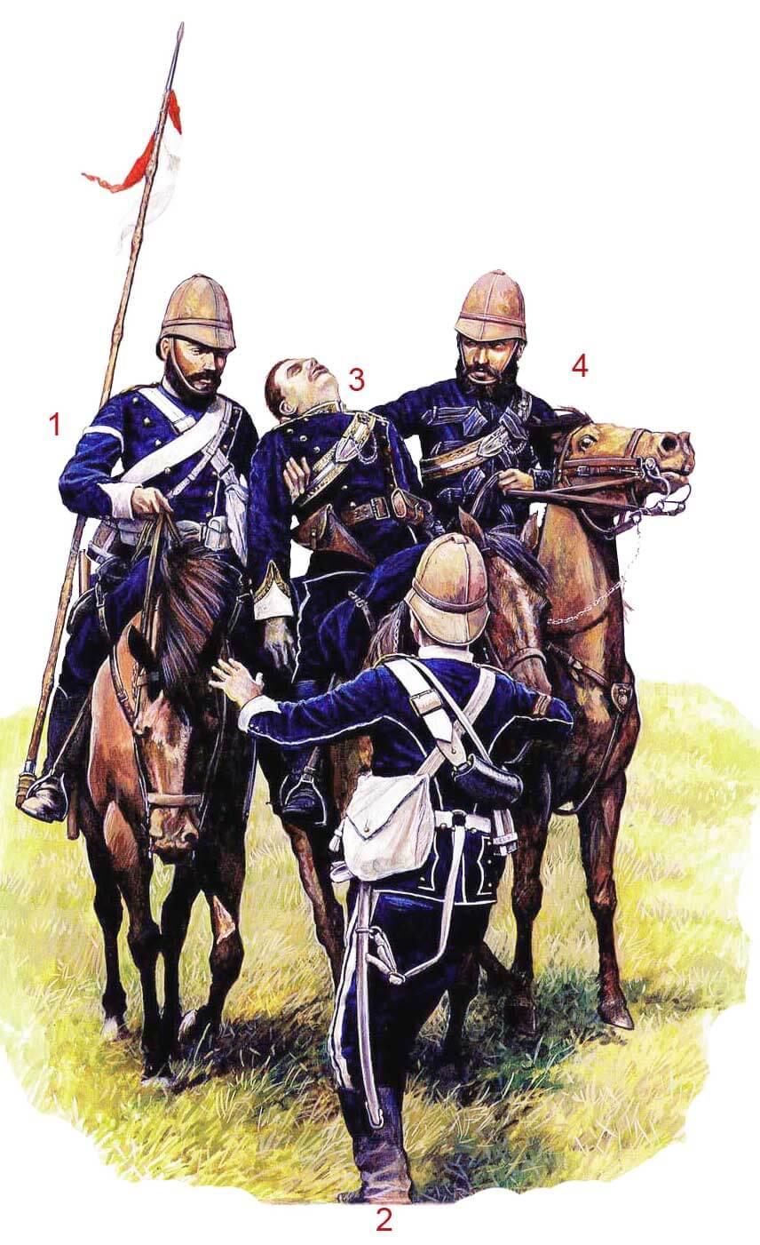 Смерть лейтенанта и адъютанта Ф. Дж. Кокаи Фрит (F. J. Cockaye Frith), 17-й уланский полк, река Упоко (Upoko River) страна Зулу, 5 июня 1879 года