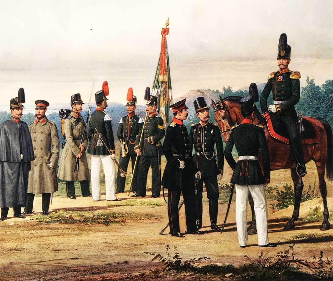 Офицеры и нижние чины Калужского пехотного Его Величества Короля Прусского полка, 1861 год.