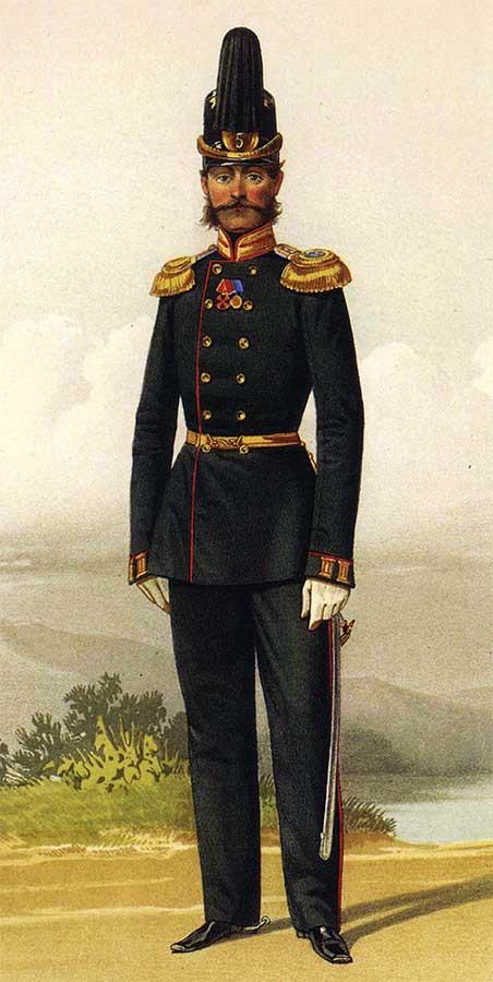 Штаб-офицер Калужского пехотного Его Величества Короля Прусского полка в праздничной форме, 31 декабря 1860 года.