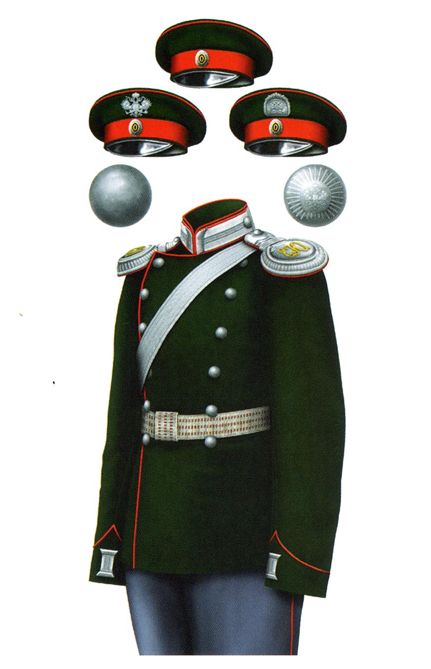Униформа офицеров Елисаветградского кавалерийского юнкерского училища, 1901 год.
