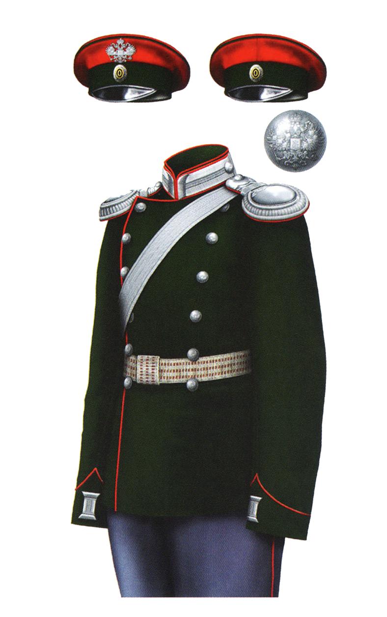 Униформа офицеров Елисаветградского кавалерийского юнкерского училища, 1904 год.