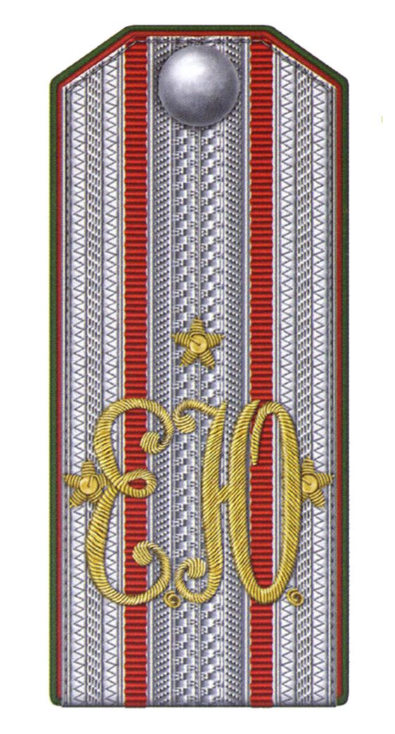 Погон штаб-офицера (подполковника) Елисаветградского кавалерийского юнкерского училища с 1901 по 1902 годы.