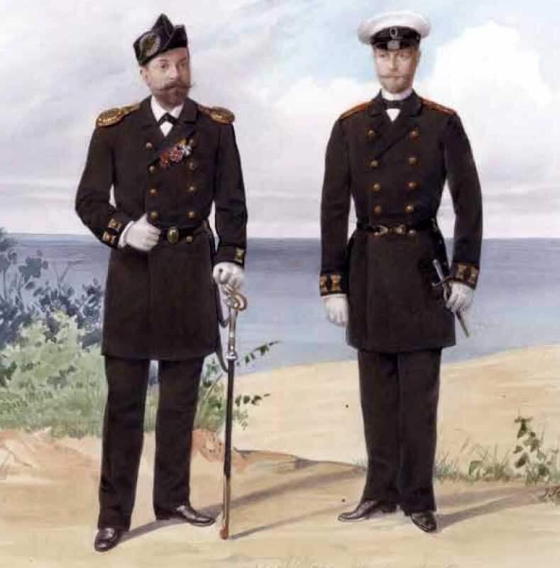 Обер-офицеры Гвардейского экипажа (в обыкновенной форме и в сюртуке), 1892 год.