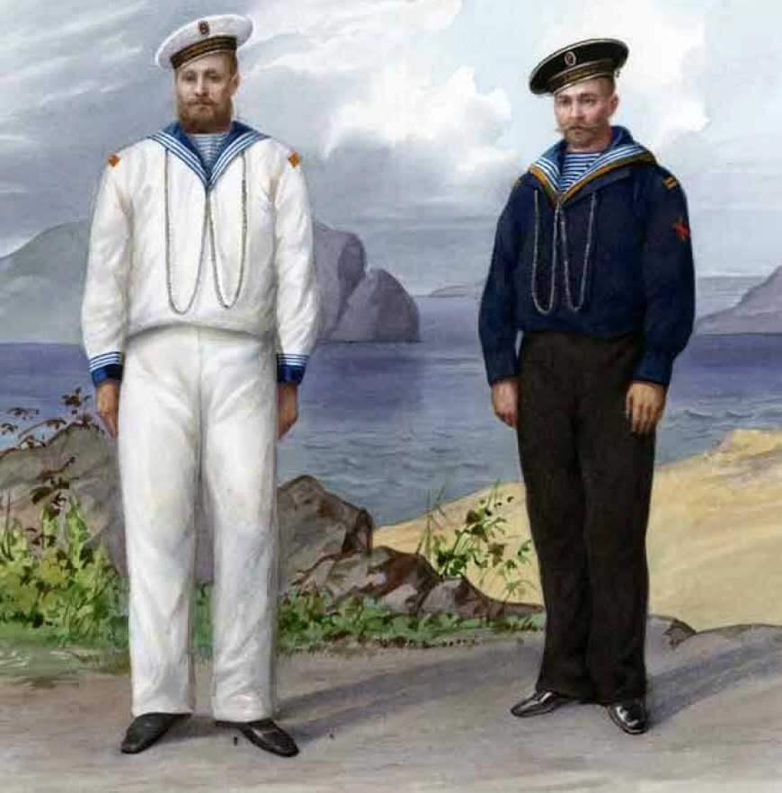 Квартирмейстеры Гвардейского экипажа (в синей фланелевой рубашке и белой рубашке), 1881–1892 годы.