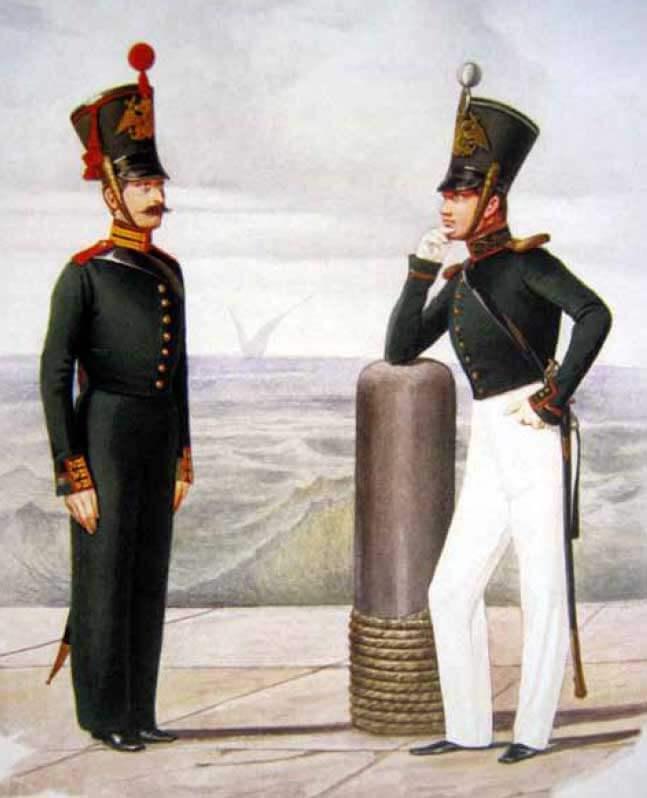 Бомбардир и обер-офицер артиллерийской роты, 1828–1830 годы.