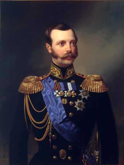 Портрет императора Александра II в адмиральском мундире Гвардейского экипажа. (А. И. Гебенс. Холст,масло, 1861.)