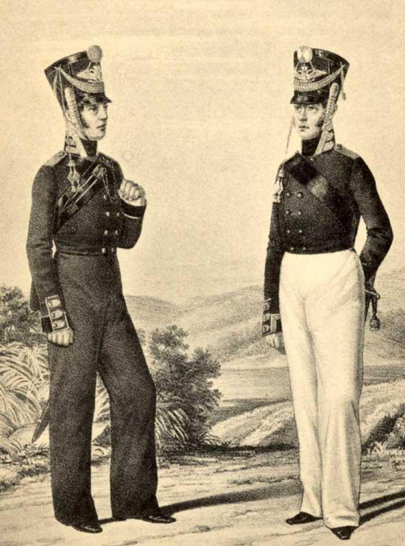 Бомбардир и унтер-офицер Артиллерийской команды Гвардейского экипажа, 1811 год.