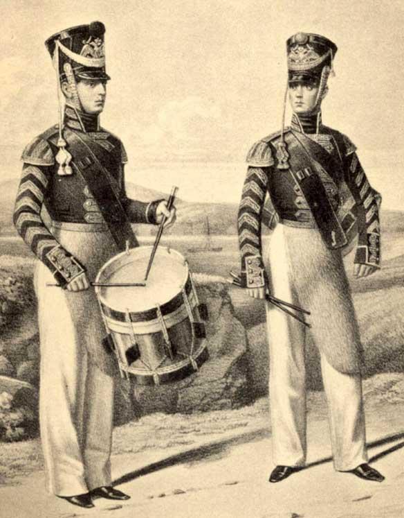 Барабанщики Гвардейского экипажа и Артиллерийской команды, 1811 год.