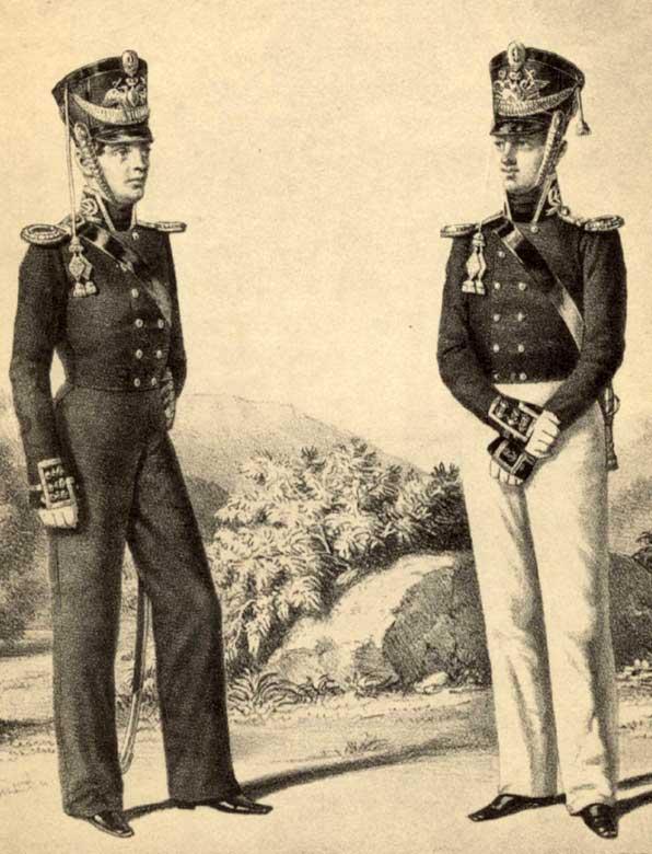 Обер-офицеры Гвардейского экипажа и Артиллерийской команды, 1811 год.
