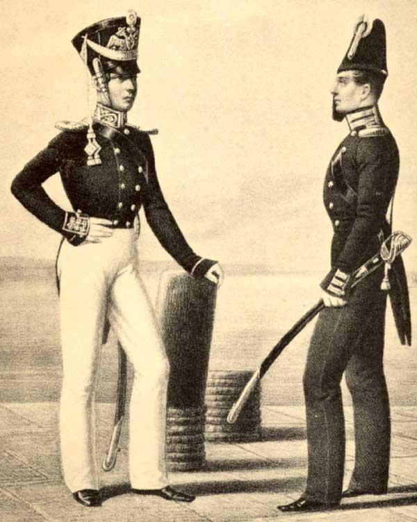 Обер-офицеры Гвардейского экипажа, 1817 – 1823 годы.