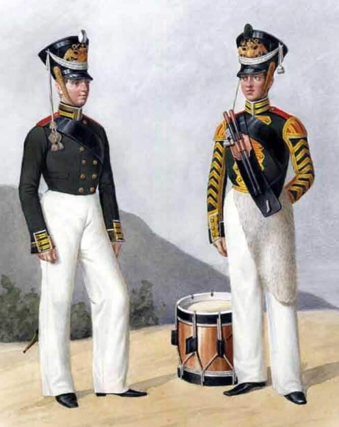 Унтер-офицер и барабанщик Гвардейского экипажа, 1817 – 1819 годы.