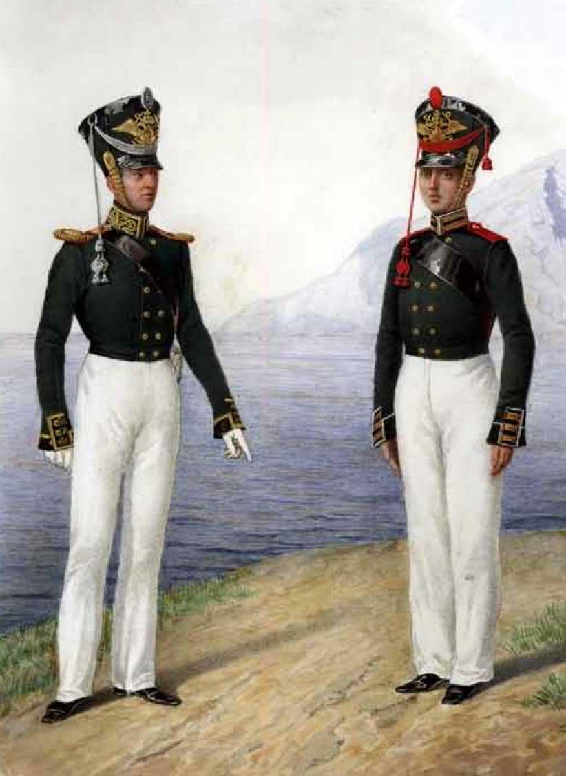 Обер-офицер и канонир Артиллерийской команды Гвардейского экипажа, 1817 – 1823 годы.