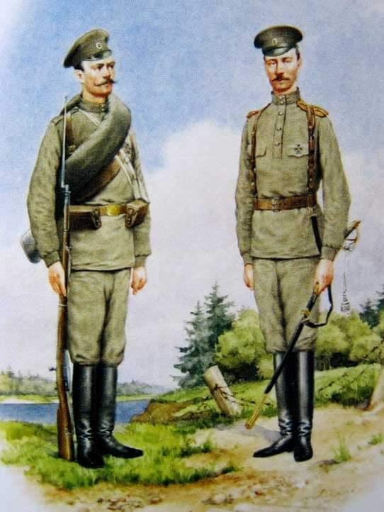 Матрос и лейтенант Гвардейского экипажа в летней форме одежды, 1914