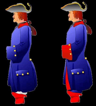 Рядовой полка Бергхольца (Bergholtz), Шверин, 1709 год (слева) и 1713 года (справа).