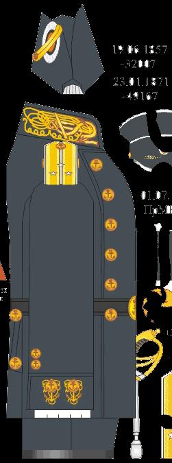 Мундир береговой походной формы лейтенанта Морского Училища. 1871-1881 годы.
