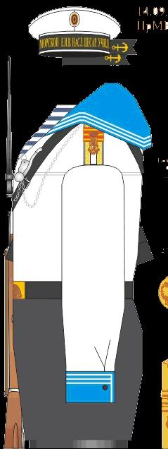 Летняя строевая форма старшего унтер-офицера Морского Его Императорского высочества наследника Цесаревича корпуса. 1916-1917 годы.