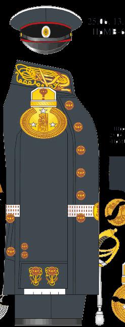 Мундир зимней строевой парадной формы лейтенанта Морского Его Императорского высочества наследника Цесаревича корпуса - Морского Его Императорского высочества наследника Цесаревича училища.