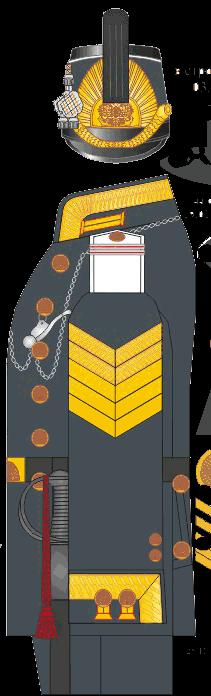 Зимний мундир каптенармуса, младшего унтер-офицера Морского Корпуса. На рукаве нашивка за 5 лет добросовестной службы. 1858-1862 годы.