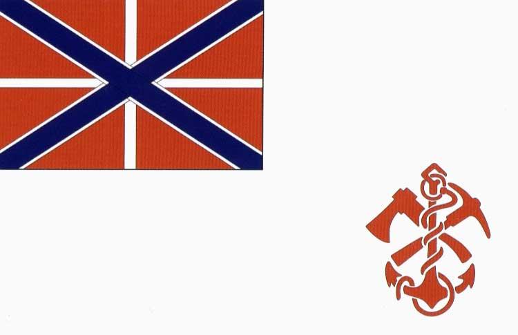 Кормовой флаг для судов Одесского морского батальона, высочайше утверждённый 21 июня 1916 года. По рисунку в приказе.
