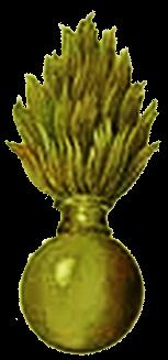 Граната в один огонь на шапку Роты Дворцовых Гренадёр