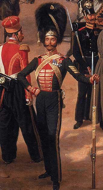 Гвардия в 1832 году у Александровского дворца в Царском Селе. (Фрагмент картины художника Франца Крюгера)