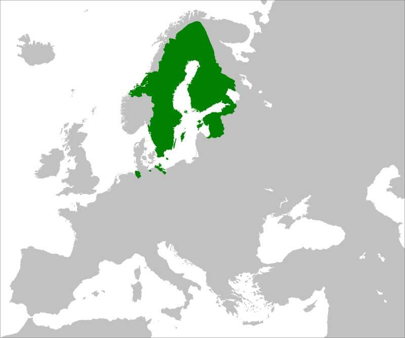 Шведская империя в 1658 году