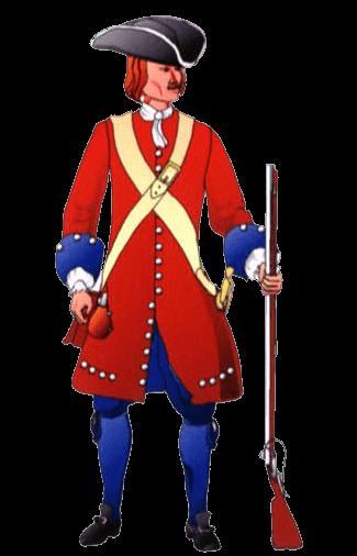 Униформа солдата терцио О'Берни (1673 год), с 1689 года – О'Нейла.
