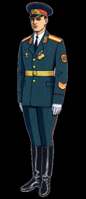 Летняя парадная форма одежды для строя сержантов сверхсрочной службы (кроме авиации и ВДВ).