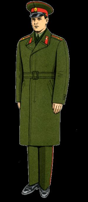 Летняя повседневная форма одежды вне строя офицеров (в летнем пальто).