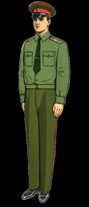 Летняя повседневная форма одежды вне строя маршалов, генералов, офицеров и сержантов сверхсрочной службы (в рубашке с погонами)
