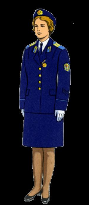 Летняя парадная форма одежды офицеров-женщин авиации и Воздушно-десантных войск и женщин, принятых на военную службу в авиацию и Воздушно-десантные войска на должности сержантов и солдат